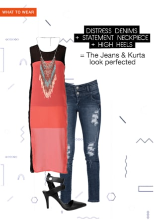 Distress Denims + Statement Neckpiece + High Heels