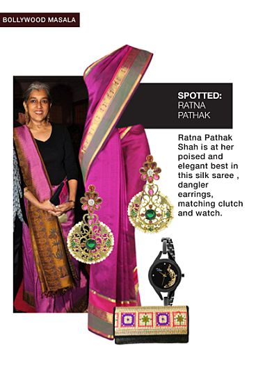 Pink Sarees, Multi Earrings, Black Clutches with Black Watches. Online shopping look by Tani