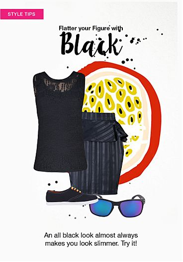 Black Skirts, Solids Black Tops with Black Sunglasses. Online shopping look by subb