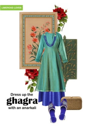 Dress up the ghagra with an anarkali