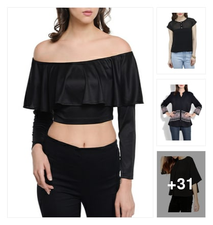 34 Must Have Black Tops Only Under 499!. Online shopping look by greeta