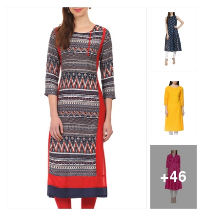 Shades of multiple color kurtas. Online shopping look by prardhana