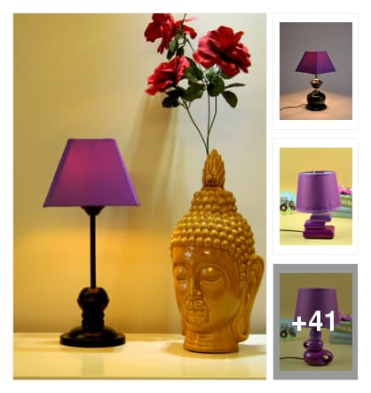 Colourful table lamps . Online shopping look by konda