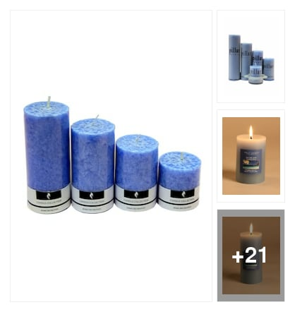 Piller candle set . Online shopping look by konda