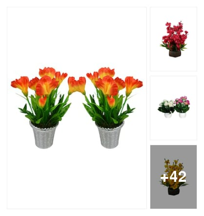 Artificial Lilly flower and pot. Online shopping look by chinni