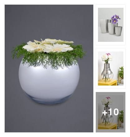 Elegant siver spherical.vase. Online shopping look by chinna