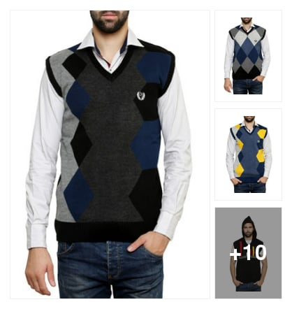 Sleeveless pullover for fashionable men. Online shopping look by Sheetal