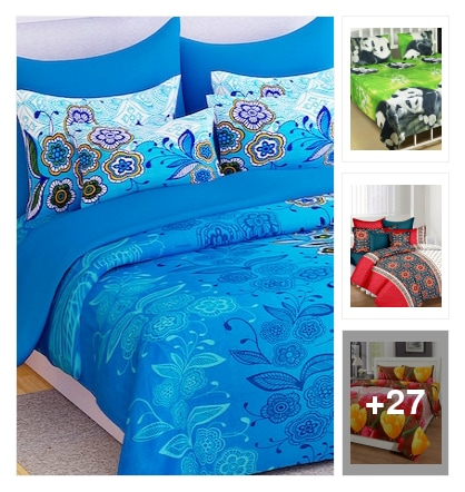 Story @ Home 100% Cotton Blue Floral 1 Double Bedsheet With 2 Pillow Covers By Story @ Home  4.5  seller score out of 5. Online shopping look by BABY