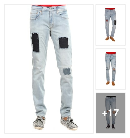 New trendy distressed jeans . Online shopping look by Reddy