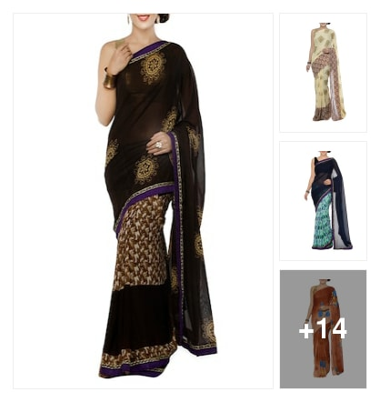 Georgette printed saree. Online shopping look by chinna