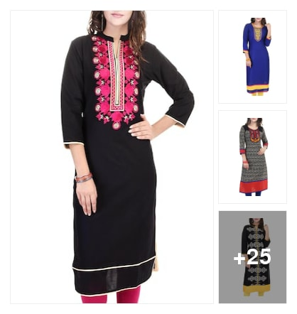 Colour ful kurthas. Online shopping look by Krishna