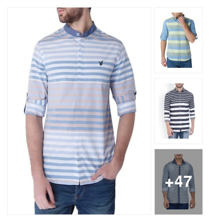 50 horizontal stripped shirts for men. Online shopping look by sweta