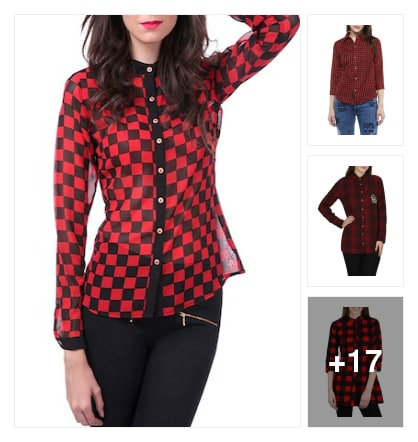 Check mate in red n black check shirts. Online shopping look by Sunehri