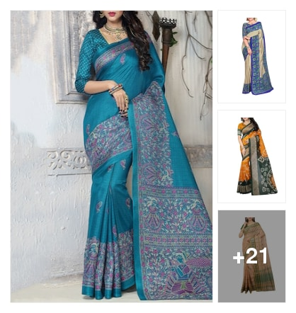 Hand painted easy cotton sarees. Online shopping look by meenu