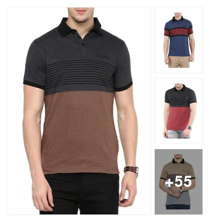 Striped cotton t-shirts for men. Online shopping look by sunitha