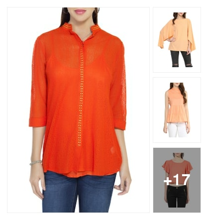 Orange tops. Online shopping look by Rajni