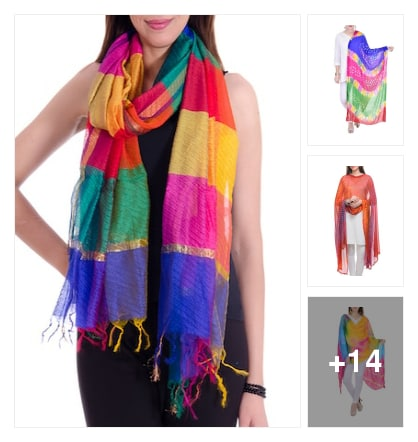 Multicolor dupattas. Online shopping look by chengal