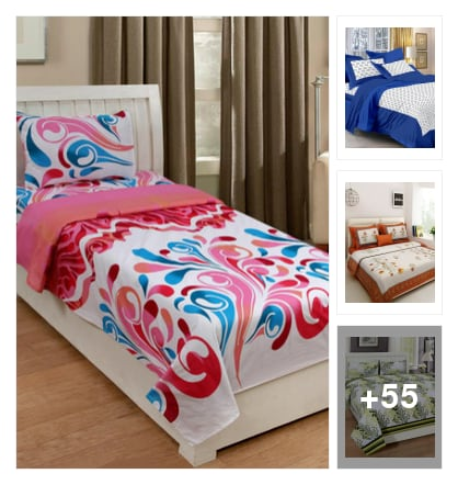 Pure cotton bedsheet . Online shopping look by konda