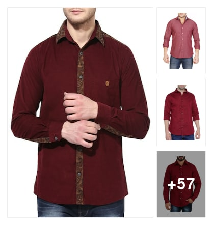 Red cotton regular shirt for pretty looking. Online shopping look by sravani