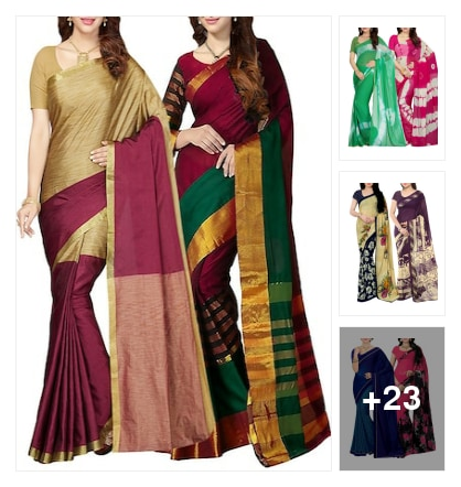 Set Of 2 Multicolor Art Silk Saree. Online shopping look by buddy