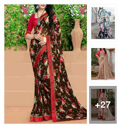 Floral designe sarees. Online shopping look by Krishna