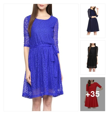 Blue net dress with festival collection for cute girls. Online shopping look by chinni