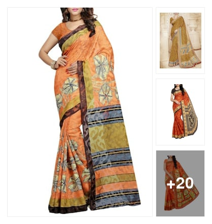 Kanjivaram printed sarees. Online shopping look by Reeta