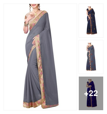 Grey Georgette Bordered Saree. Online shopping look by Reethu