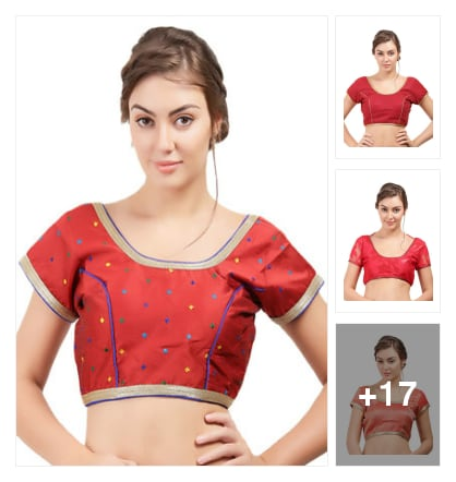 Red ready blouses for Durga poojo. Online shopping look by Vyaktitva