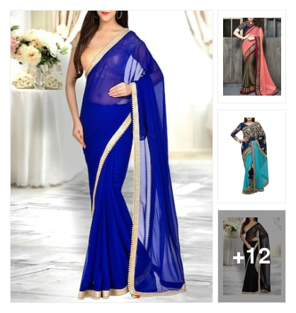 Partywear sarees. Online shopping look by meenu