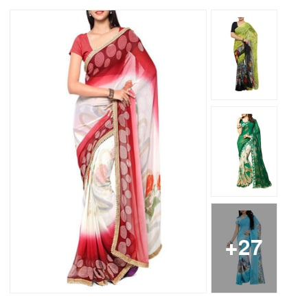 Colorful chiffon sarees. Online shopping look by Lucky
