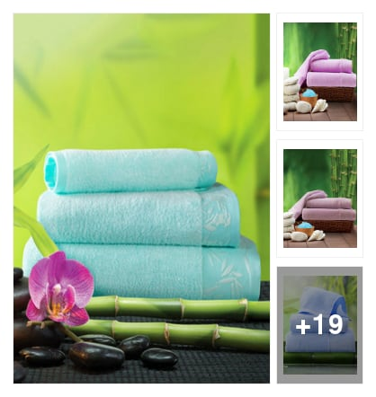 Cotton blend towels . Online shopping look by rao