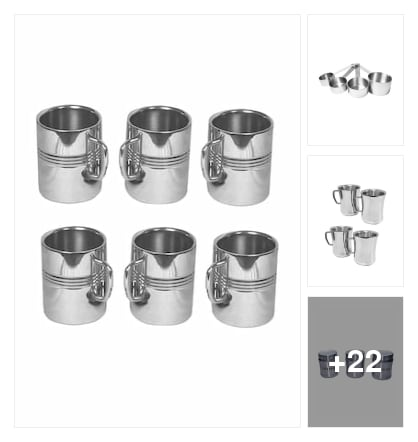 Set Of 6 Stainless Steel Mug. Online shopping look by ANU