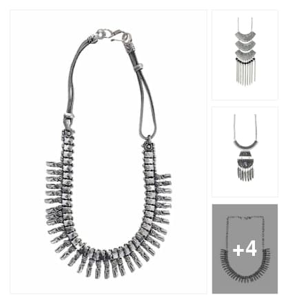 Silver Tribal necklace for navratri . Online shopping look by Sheetal