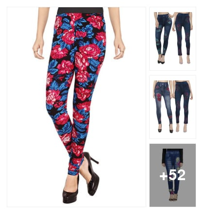 Floral​ jeans and jeggings. Online shopping look by max