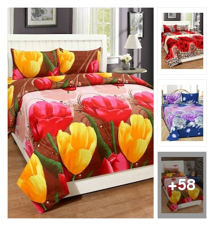 Trndz home floral printed cotton double bedsheets with pillow covers. Online shopping look by sravani