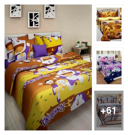 Malti colour cotton double bedsheets and pillow covers. Online shopping look by sravani