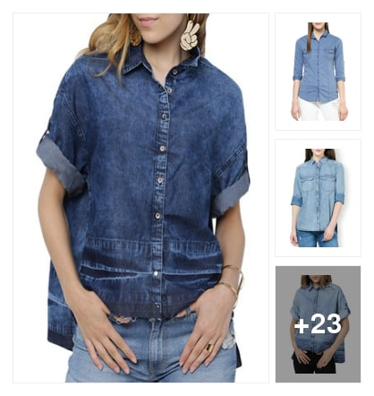 Denim shirts. Online shopping look by Linette