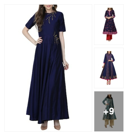 Beautiful blue anarkalis . Online shopping look by Nilu