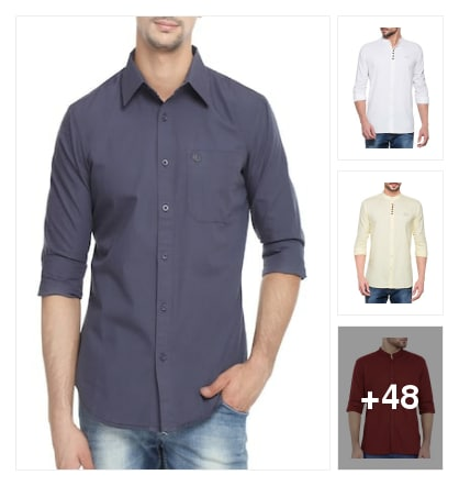 Plain casual shirts for men. Online shopping look by vihaan