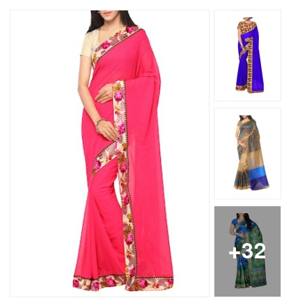 Pink Georgette Saree. Online shopping look by buddy