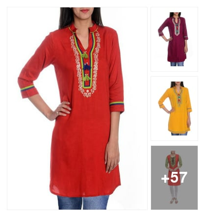Reyon kurtas . Online shopping look by kalpana