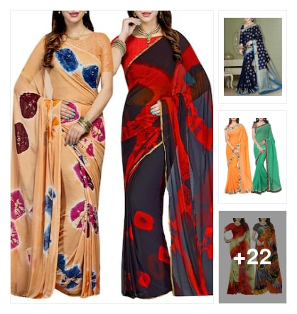 colorful sarees. Online shopping look by Guru