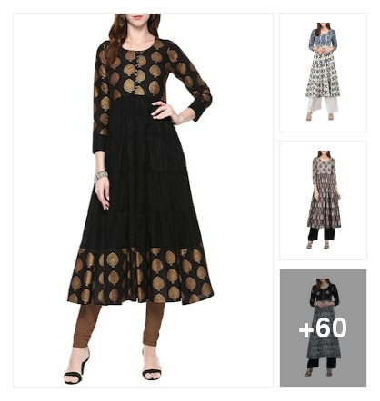Black cotton printed floral Kurt's. Online shopping look by sravani
