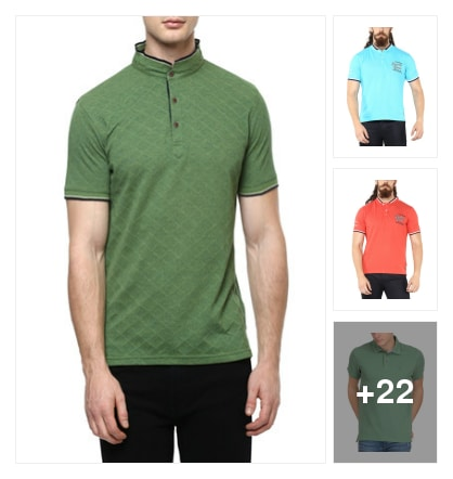 Callered t-shirts for men. Online shopping look by santhi