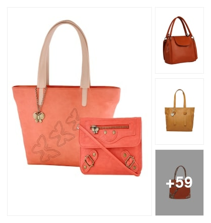 Orange leatherette hand bag and lovely clutch. Online shopping look by sravani