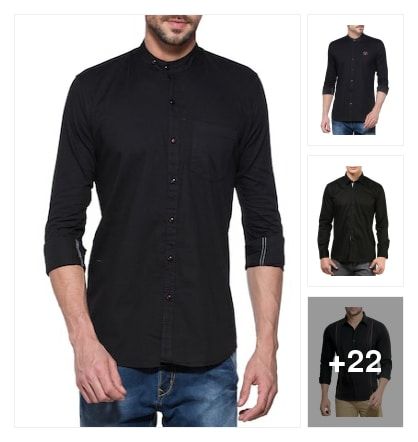 Black shirts for mens. Online shopping look by Reeta