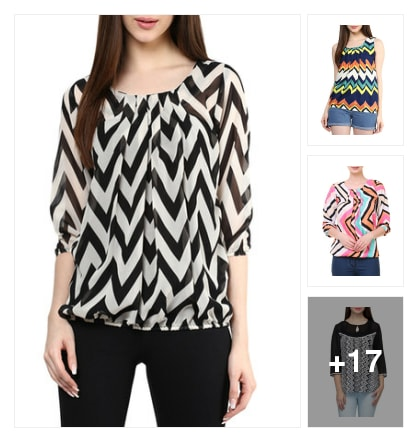 Chevron printed tops. Online shopping look by Priyanka