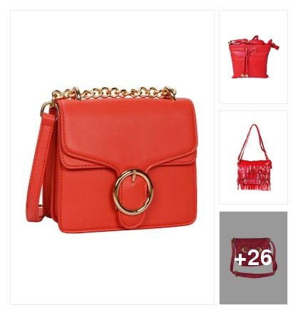 Red slingbags . Online shopping look by mansi