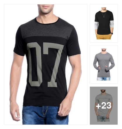 T-shirts for men all under 499. Online shopping look by Nikita